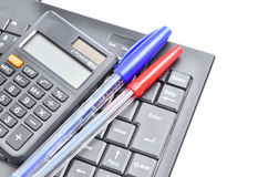 Business concept with pen, keyboard and calculator Royalty Free Stock Photo