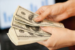 Business concept. person shows money in hands Stock Photography