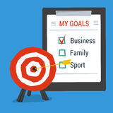 Business concept personal goals. Target with arrow in center and list of goals. Flat style Stock Illustration