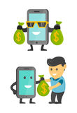 Business concept phone make money for you. Smartphone profitable. Vector flat cartoon illustration set. Happy men and phone charac Royalty Free Stock Photography