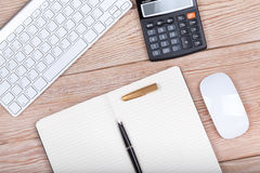 Business concept photo: keyboard, calculator, paper, ink pen Royalty Free Stock Image