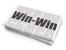 Business concept: Win-Win on Newspaper background. Business concept: Pixelated black text Win-Win on Newspaper background, 3D rendering Royalty Free Stock Photos