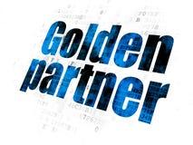 Business concept: Golden Partner on Digital background. Business concept: Pixelated blue text Golden Partner on Digital background Royalty Free Stock Image