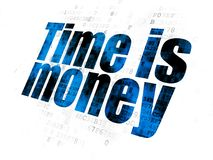 Business concept: Time is Money on Digital background. Business concept: Pixelated blue text Time is Money on Digital background Royalty Free Stock Photos
