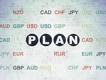 Business concept: Plan on Digital Data Paper background. Business concept: Painted black text Plan on Digital Data Paper background with Currency Royalty Free Stock Images