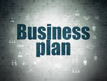 Business concept: Business Plan on Digital Data Paper background. Business concept: Painted blue text Business Plan on Digital Data Paper background with  Hand Royalty Free Stock Image