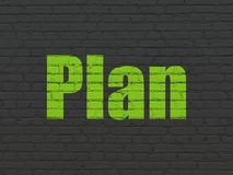 Business concept: Plan on wall background. Business concept: Painted green text Plan on Black Brick wall background Royalty Free Stock Photography