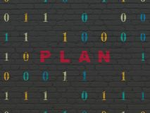 Business concept: Plan on wall background. Business concept: Painted red text Plan on Black Brick wall background with Binary Code Royalty Free Stock Photography