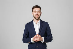 Business Concept - Portrait Handsome Business man holding hands with confident face. White Background. royalty free stock photos