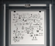 Business concept on poster with composition wall. With steel frame background Stock Photography