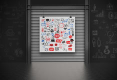 Business concept on poster with composition wall. With steel frame background Royalty Free Stock Image
