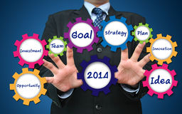 2014 business concept present by gear. Businessman working for 2014 business concept present by gear Stock Image
