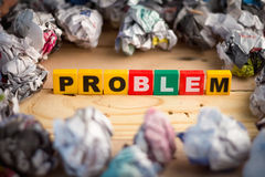 Business concept problem  soltions.jpg. Business concept problem  soltions with problem text with trash around.jpg Royalty Free Stock Images