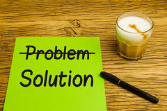 Business concept problem solution green paper Stock Image