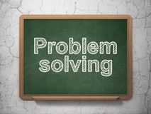 Business concept: Problem Solving on chalkboard background. Business concept: text Problem Solving on Green chalkboard on grunge wall background, 3D rendering Stock Photo