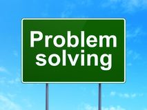 Business concept: Problem Solving on road sign background. Business concept: Problem Solving on green road highway sign, clear blue sky background, 3D rendering Stock Photography