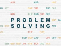 Business concept: Problem Solving on wall background. Business concept: Painted blue text Problem Solving on White Brick wall background with Currency Stock Photography