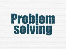 Business concept: Problem Solving on wall background. Business concept: Painted blue text Problem Solving on White Brick wall background Stock Photo
