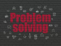 Business concept: Problem Solving on wall background. Business concept: Painted red text Problem Solving on Black Brick wall background with  Hand Drawn Business Royalty Free Stock Image