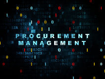 Business concept: Procurement Management on. Business concept: Pixelated blue text Procurement Management on Digital wall background with Binary Code, 3d render Royalty Free Stock Photos