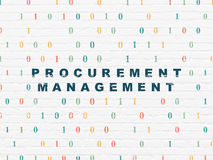 Business concept: Procurement Management on wall. Business concept: Painted blue text Procurement Management on White Brick wall background with Binary Code, 3d Royalty Free Stock Image