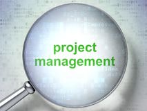 Business concept: Project Management with optical glass. Business concept: magnifying optical glass with words Project Management on digital background, 3D Stock Image
