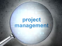 Business concept: Project Management with optical glass. Business concept: magnifying optical glass with words Project Management on digital background, 3D Royalty Free Stock Photo