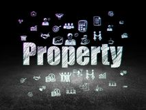 Business concept: Property in grunge dark room. Business concept: Glowing text Property,  Hand Drawn Business Icons in grunge dark room with Dirty Floor, black Royalty Free Stock Images