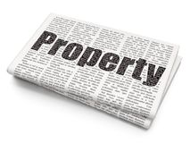 Business concept: Property on Newspaper background. Business concept: Pixelated black text Property on Newspaper background, 3D rendering Royalty Free Stock Photography