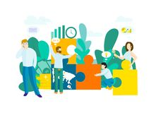 Business concept with puzzle. royalty free illustration