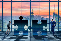 The business concept of puzzles for teamwork Stock Image