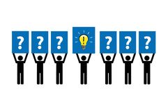 Business concept with questions and idea pictogram stock illustration