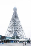 Business concept for real estate and corporate construction : Looking up view of Tokyo Skytreesky tree, the landmark of Japan wi. Tokyo, Japan - Oct, 13, 2106 Royalty Free Stock Image