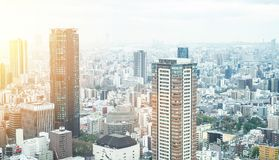 Panoramic modern city skyline aerial view in Osaka, Japan. Business concept for real estate and corporate construction - panoramic modern city skyline bird eye stock photo