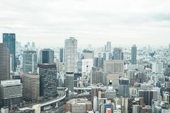 Panoramic modern city skyline aerial view in Osaka, Japan. Business concept for real estate and corporate construction - panoramic modern city skyline bird eye stock images
