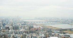 Panoramic modern city skyline aerial view in Osaka, Japan. Business concept for real estate and corporate construction - panoramic modern city skyline bird eye royalty free stock images