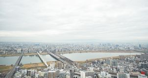 Panoramic modern city skyline aerial view in Osaka, Japan. Business concept for real estate and corporate construction - panoramic modern city skyline bird eye stock photos