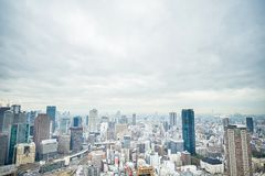 Panoramic modern city skyline aerial view in Osaka, Japan. Business concept for real estate and corporate construction - panoramic modern city skyline bird eye stock image