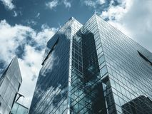 Business concept for real estate and corporate construction - panoramic modern city skyline bird eye aerial view with dramatic royalty free stock image