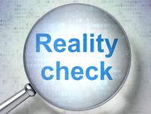 Business concept: Reality Check with optical glass. Business concept: magnifying optical glass with words Reality Check on digital background, 3D rendering Royalty Free Stock Images