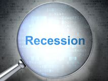 Business concept: Recession with optical glass. Business concept: magnifying optical glass with words Recession on digital background, 3D rendering Royalty Free Stock Photo