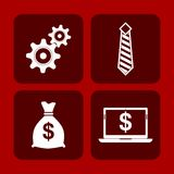 Business concept red background. Four Business concept red background Stock Illustration