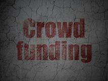 Business concept: Crowd Funding on grunge wall background. Business concept: Red Crowd Funding on grunge textured concrete wall background Royalty Free Stock Photos