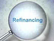 Business concept: Refinancing with optical glass. Business concept: magnifying optical glass with words Refinancing on digital background, 3D rendering Stock Image