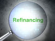 Business concept: Refinancing with optical glass. Business concept: magnifying optical glass with words Refinancing on digital background, 3D rendering Stock Photos