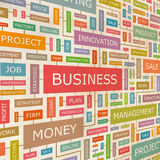 BUSINESS. Concept related words in tag cloud. Conceptual info-text graphic. Word collage Stock Photography