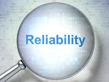 Business concept: Reliability with optical glass. Business concept: magnifying optical glass with words Reliability on digital background, 3D rendering Royalty Free Stock Images