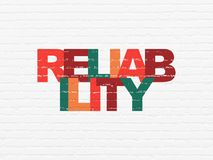 Business concept: Reliability on wall background. Business concept: Painted multicolor text Reliability on White Brick wall background Royalty Free Stock Photography