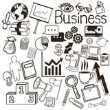 Background and icon set. Business. Vector graphic. Business concept represented by background and and icon set. Black and White colors. Draw and isolated Royalty Free Stock Images