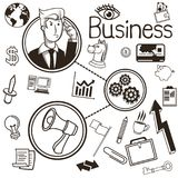 Businessman ideas and icon set. Business. Vector graphic. Business concept represented by businessman ideas and icon set. Black and White colors. Draw and Royalty Free Stock Photo
